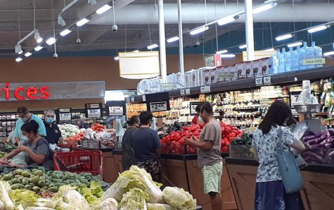 A local grocery store where people are wearing their mask as they shop