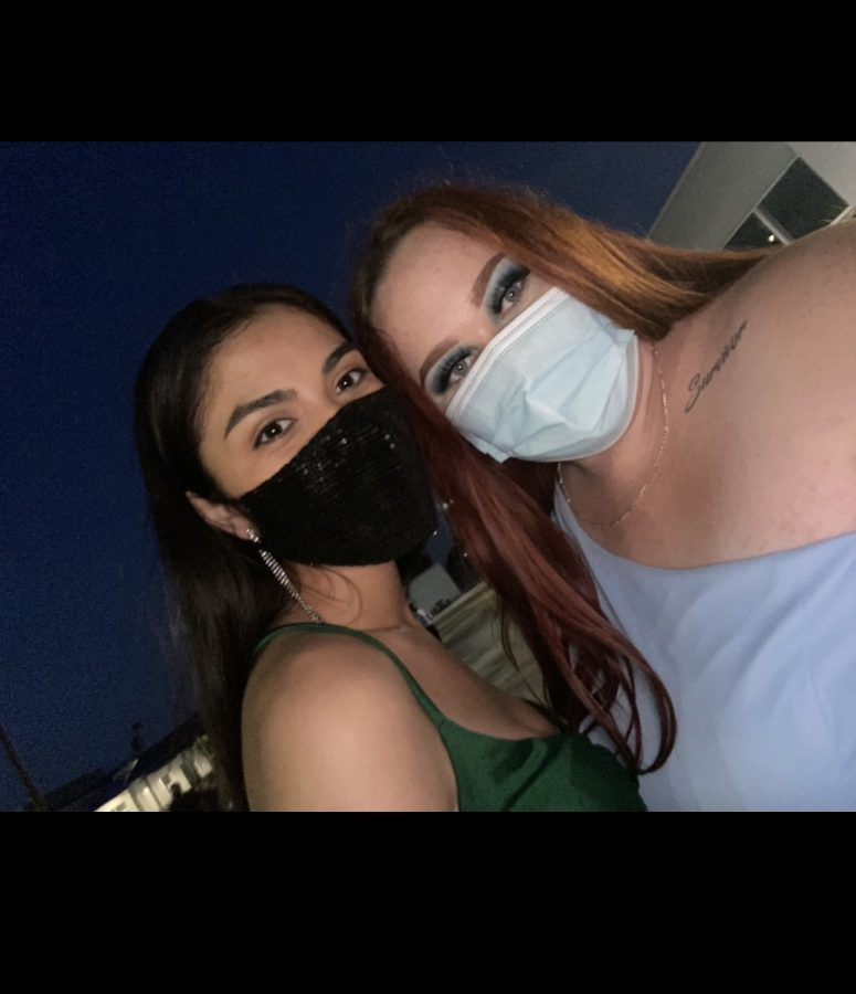 Prom Court Princess Mia Iglesias and Makenzie Guillen masked up for Prom.